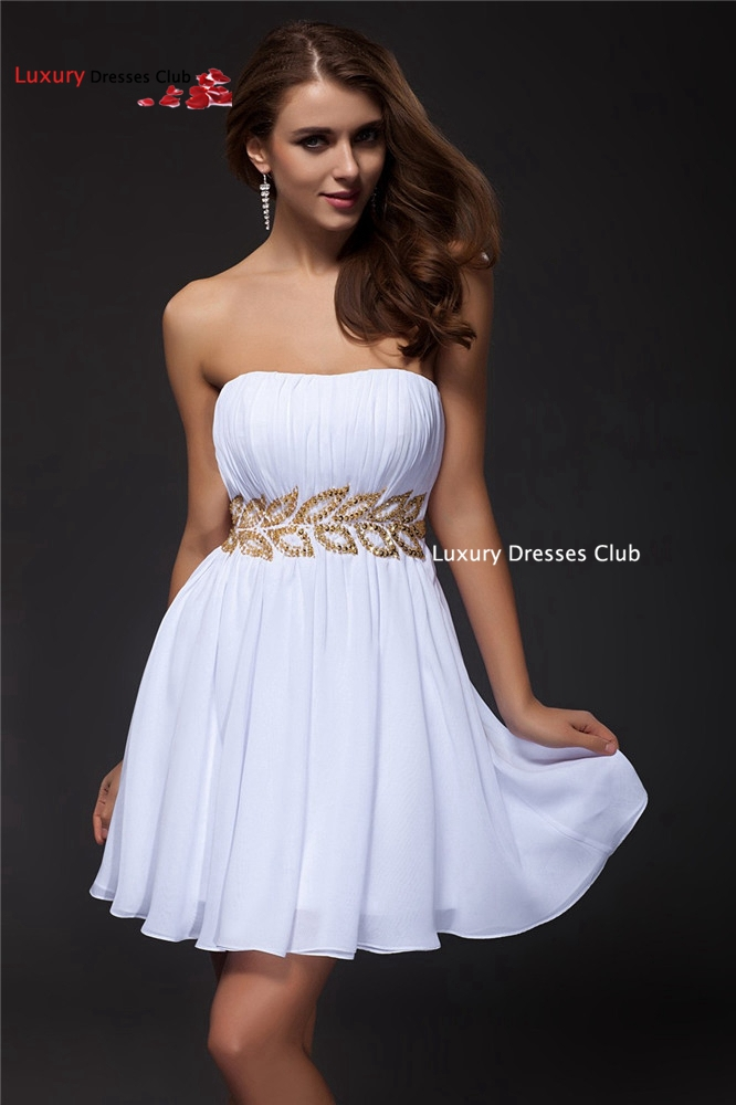 White Short Prom dresses 2016 Plus Size A Line Backless
