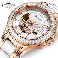 kobiet zegarka Top Brand Women Watch Automatic Mechanical Watches Ceramic Ladies Clock Hollow Waterproof Rhinestone Wristwatch