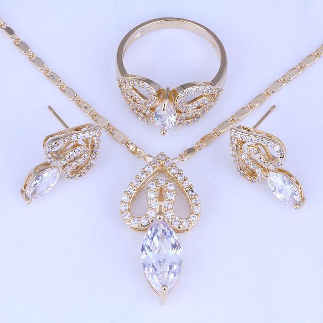 Excelente Corazón Blanco Cubic Zirconia Pendientes/Collar/Anillo de Oro Amarillo Plateado Joyería Fija El Envío Bolsa H0267