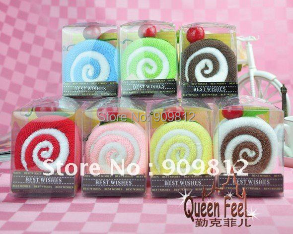 Free Shipping Swiss roll cake towel, Packed switzerland volume gift towel, Wedding return gift, 90g 10pcs/lot