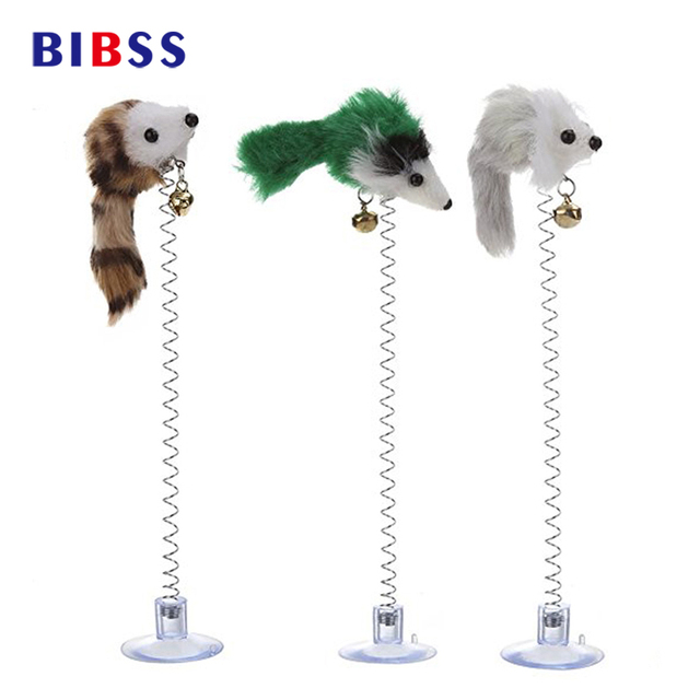 3Pcs  Elastic Feather False Mouse Bottom Sucker Toy for Cat Kitten Playing Pet Seat Scratch Toy Pet Cat Supplies Funny Cat Toys