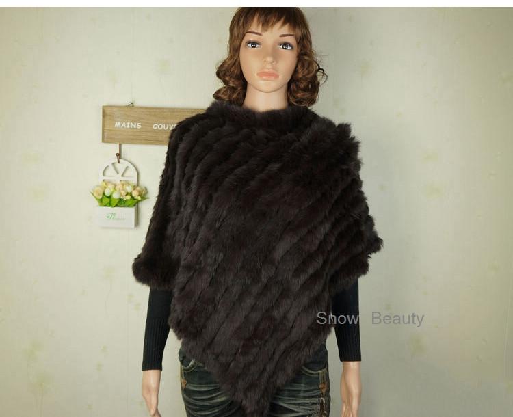 natural real knitted rabbit fur poncho shawl (18)
