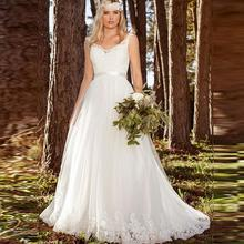 Elegant Princess Wedding Dresses 2019 Lace Appliques Backless Tulle Bridal Dress Customized Plus Size Gown