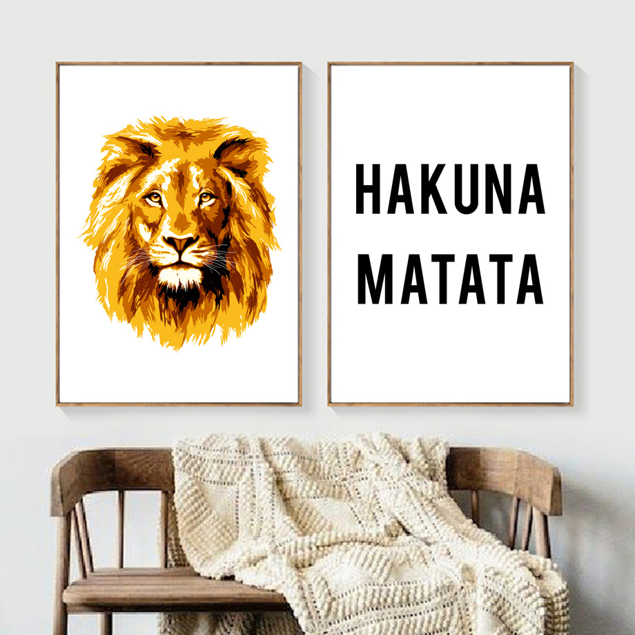 Room, Posters, And, Cartoon, Lion, Decor