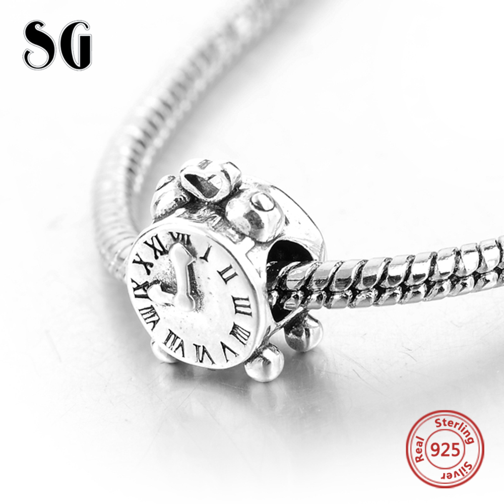 Alarm Clock Beads 925 Sterling Silver Fashion Jewelry for Women Accessories Fit Pandora Charms Jewelry DIY Charming Beads Gifts
