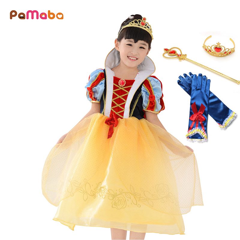 PaMaBa Girls Princess Snow White Costume Gown Children Halloween Fantasy  Snow White Dress up Filles Party Supplies Vestidos Robe 61dc4cc73966