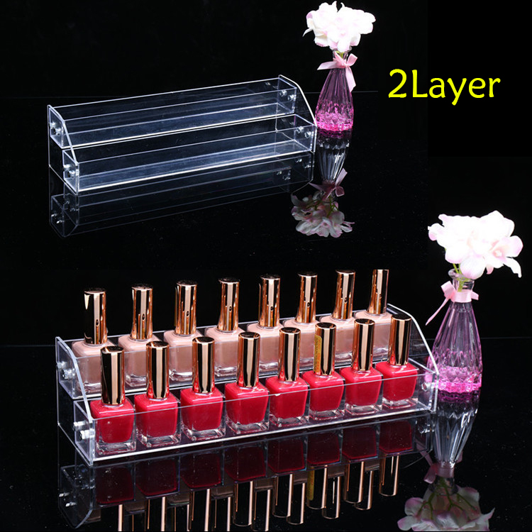 TOP Acrylic Makeup Nail Polish Storage Organizer 2/3/4/5/6 /7Layer Rack Display Stand ...