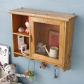 Natural Finish Wire Mesh Door Vintage Handmade Wood Cabinet Small