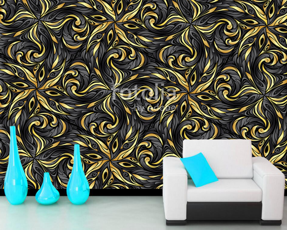 Custom abstract wallpaper, Gold abstract pattern, modern art mural for living room hotel bedroom background papel de parede 3D large painting home decor relief green flowers hotel background modern mural for living room murales de pared 3d wallpaper