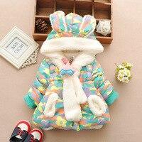 لطيف الأرنب طفل الشتاء سترة سميكة مبطنة بالقطن طفلة ملابس الرضع طفل الفتيان سترة طفل الفتيات ملابس الثلج الطفل معطف