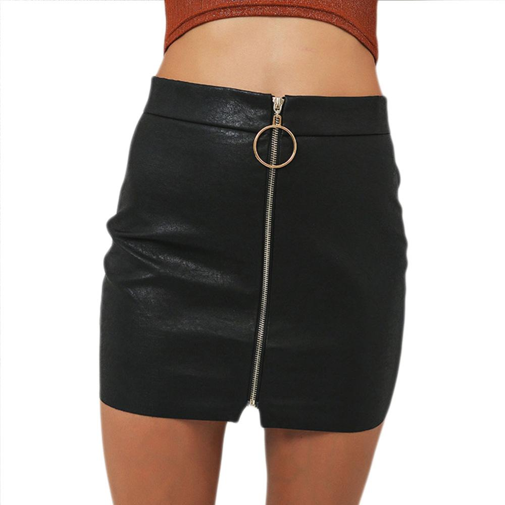 US Warehouse Sexy Skirts Womens Sexy High Waist Skirt PU Leather Autumn Metal Hoop Zipper Pencil Skirt Slim Mini Skirt 2020