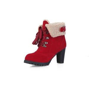Image 5 - MORAZORA 2020 מכירה לוהטת שלג מגפי נשים צאן רוסיה לשמור חם סתיו חורף מגפי תחרה עד גבוהה עקבים מגפי קרסול נשים נעל