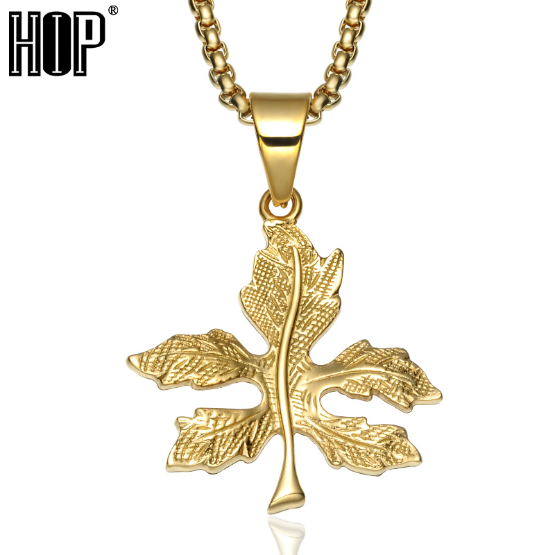 HIP Hop Bling Gold Color <font><b>Cannabiss</b></font> Maple Leaf Charm <font><b>Necklaces</b></font> Titanium <font><b>Necklaces</b></font> & Pendants for Men Women Trendy Jewelry image
