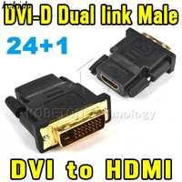 DVI-D-Adaptador de doble enlace macho 24 + 1 pin a hembra, 19 pines a DVI, conector dorado para HDTV, PC, LCD, XBOX 360, PS3
