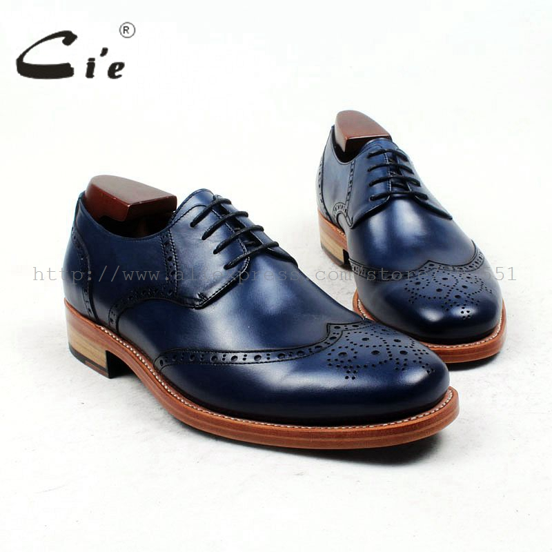 cie Free Shipping Bespoke Custom Handmade Goodyear Welted Genuine Calf Leather Men's Derby Round Toe Causal Navy shoe No.D135 cie calf leather bespoke handmade men s square toe derby leather goodyear welt craft mark line shoe color deep flat blue no d98