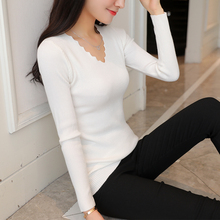 Pull Femme Hiver 2018 Autumn Winter Knitted Women Sweaters and Pullovers V Neck Long Sleeve Solid
