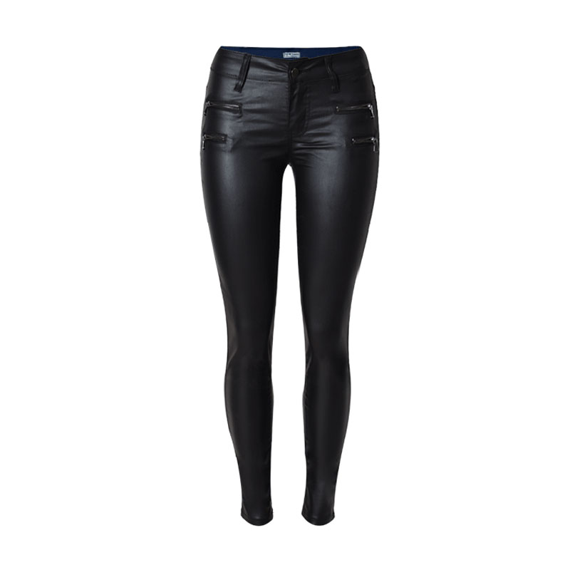 2019 Winter elegant ladies fashion PU leather Leggings wild Slim pencil trousers faux leather   pants   brand women   capris   VKPA1026