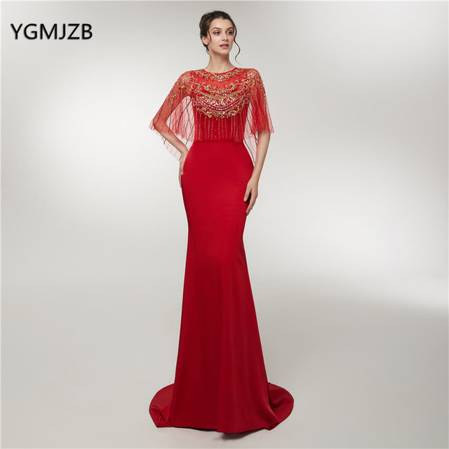 New Evening Dress Long 2018 Mermaid Luxury Crystal Beading With Cape Red  Woman Formal Party Gowns Prom Dress Robe De Soiree 22879443da87