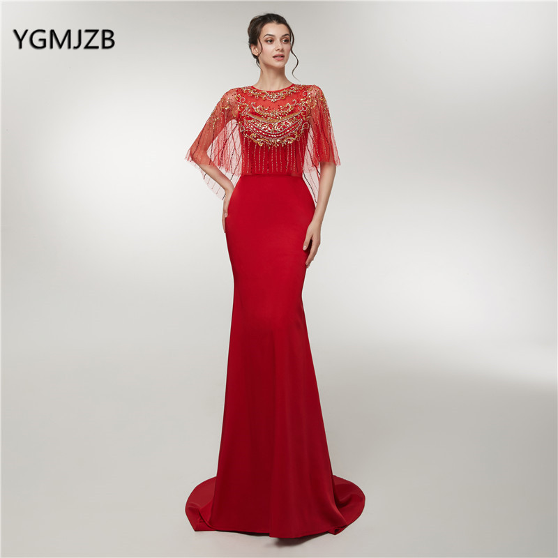 New   Evening     Dress   Long 2018 Mermaid Luxury Crystal Beading With Cape Red Woman Formal Party Gowns Prom   Dress   Robe De Soiree