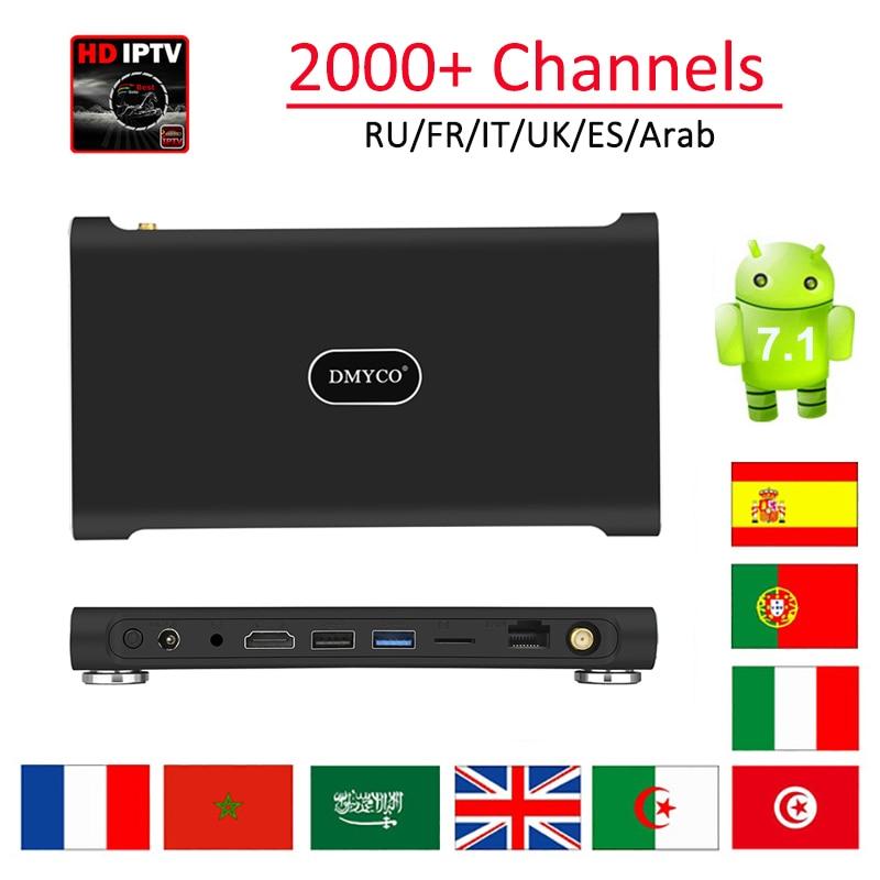 RK3399 4GB 32GB Android 7.1 Smart TV Box Best HD IPTV 2000+ Channels Russian UK Italy Arabic French Spain Europe Sports IPTV Box цена 2017