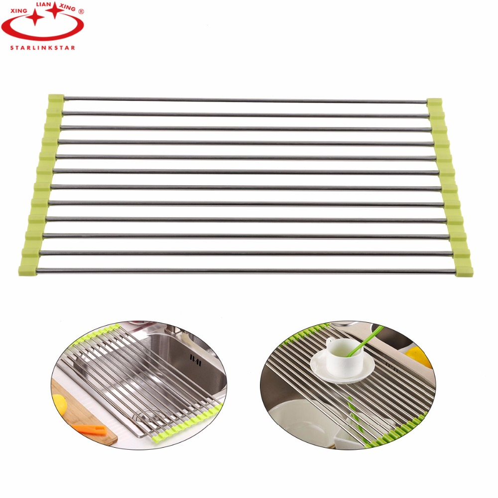 1PC Foldable Drain Rack Kitchen Sink Shelf Stainless Steel Multifunction Roll Up Dish Drying Rack Folding Wash Drainer Tray