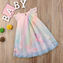 Радужное платье-пачка с единорогом для девочек; летняя детская Туника; платье для дня рождения для девочек; Детский костюм с единорогом для девочек; 8T