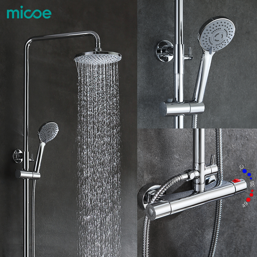 Bright 2017 Real Robinet Shower Panel Micoe For Thermostatic Shower Set Hot And Cold Mixed Faucet Bathroom Three Function Nozzle Back To Search Resultshome Improvement Shower Faucets