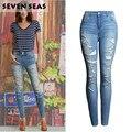 La nueva Manera Más El Tamaño de Las Señoras Ripped Apenada Skinny Jeans Mujeres de Talle Alto Jeans Stretch Denim Pantalones mujer Femme