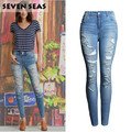 New Fashion Plus Size Ladies Ripped Distressed Skinny Jeans Women High Waisted Jeans Femme Stretch Denim Pants Pantalones mujer