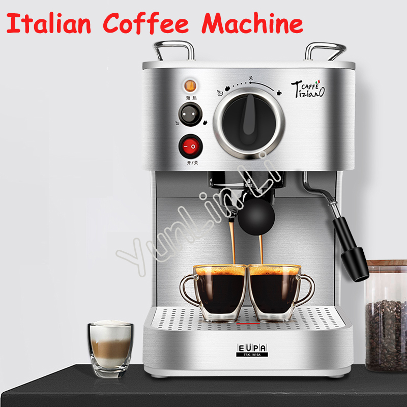 Italian Coffee Machine Household Semi-automatic Coffee Maker Commercial Steam Type Cooking Coffee TSK-1819A dhl fedex ems free shipping md 2006 italian style coffee machine household stainless steel steam type automatic coffee machine