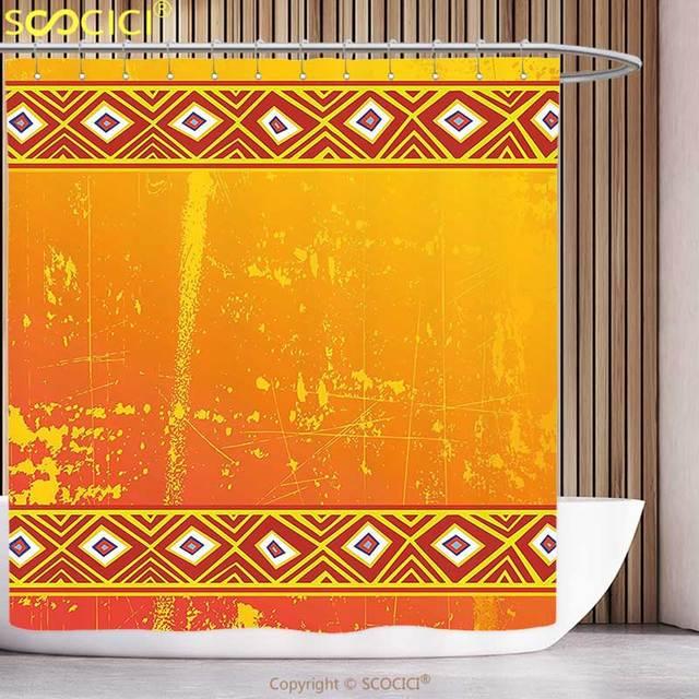 Funky Shower Curtain African Decor Tribal Theme Ethnic Grunge Ornaments Geometric Pattern Print Orange And Marigold