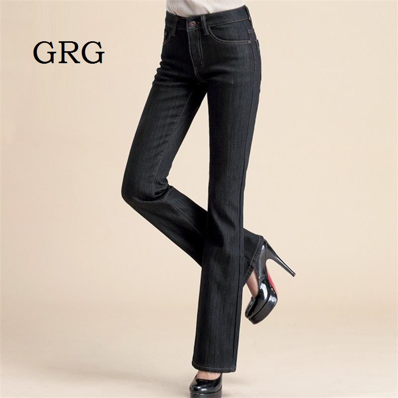 Free Shipping High Quality Women Winter Plus Velvet Boot Cut Jeans Bell bottom trousers Flare Pants