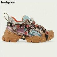 Мужские кроссовки из натуральной кожи с сетчатым верхом и блестящим ремешком со стразами, повседневная обувь, спортивная обувь на толстом к