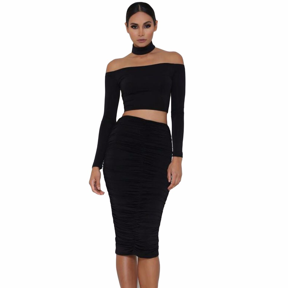 Black-Sleeved-Off-Shoulder-Choker-Crop-Top-LC25870-2-1