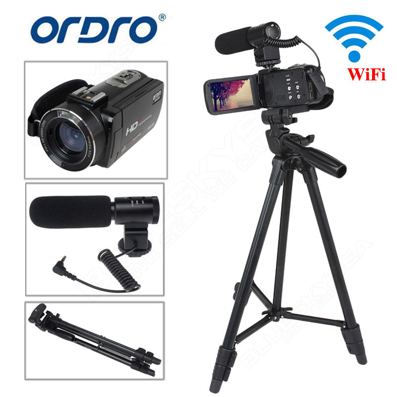 ORDRO HDV-Z20 Full HD Digital Video Camcorder Camera DV 1080P 24MP 3LCD 16X ZOOM with Microphone+Tripod