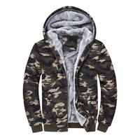 Fashion Mens Winter Camouflage Camo Fur Lined Zip Hooded Coat Hoodie Jackets Plus Cashmere Sweatshirt Amy