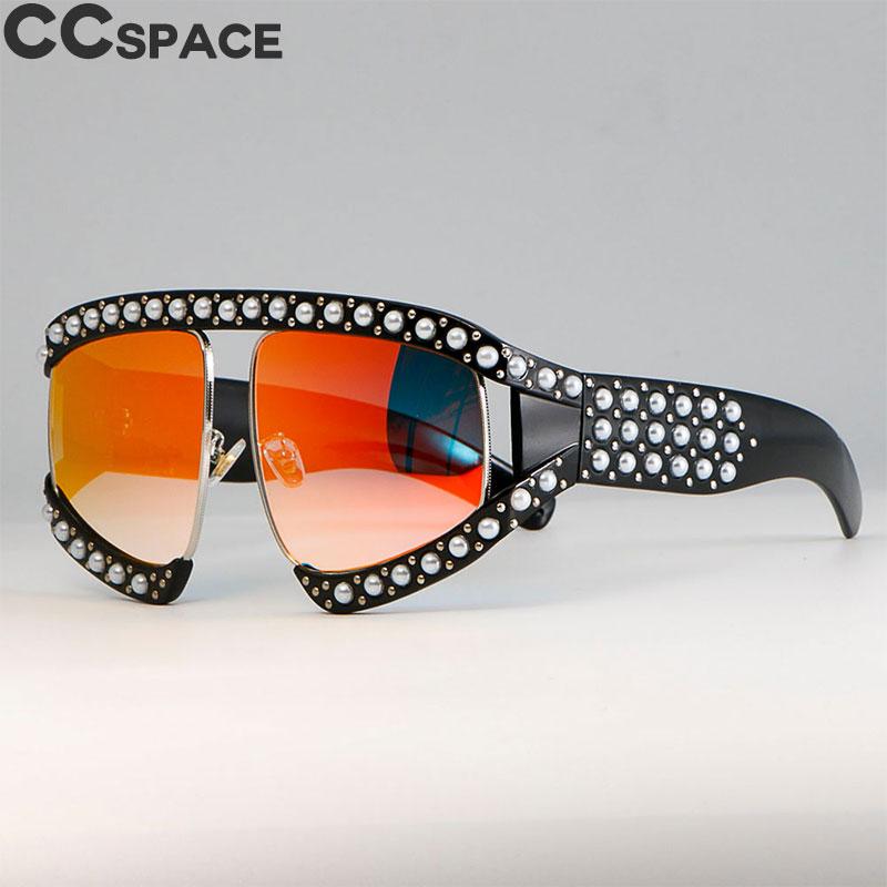 2018 Lunettes lunettes de Soleil Femmes De Luxe Nuances Perle Lunettes  Cadre Rouge Miroir Lunettes Surdimensionné b1e5e980c23e