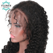 FlowerSeason Curly 5*4.5 Brazilian Human Hair Full Lace Silk Base Wig With Baby Hair Pre Plucked Hairline Non-remy Hair
