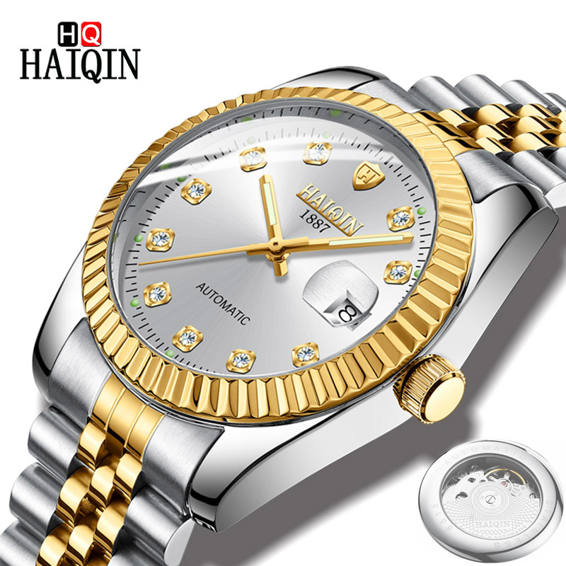 HAIQIN Men's Watches Watch Men Relojes Luxury Gold Sports Waterproof Mechanical Watch Automatic Stainless Steel Fashion Clock