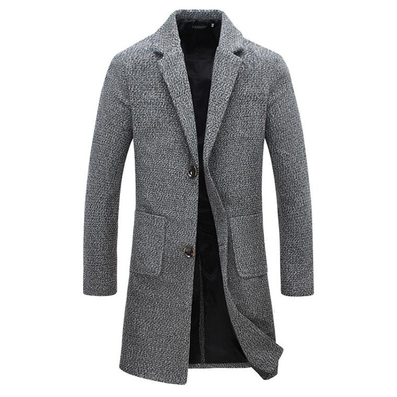 2019 New Pattern Woollen Overcoat Male Fashion Coat/Pure Color Lapel Man's Body Repair Large Size High Quality Winter Windcoat