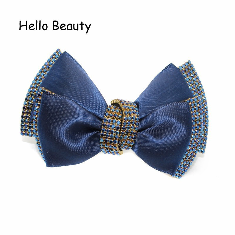 Korean Fashion Hair Jewelry Women Chic Rhinestone Hair Accessories Luxury  Hair Bow Clip French Blue Crystal Barrette -in Hair Jewelry from Jewelry ... 90a7de7b390f