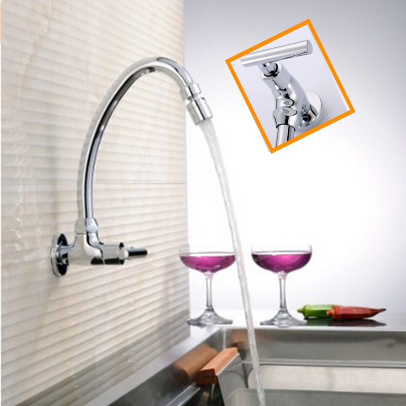 Wall Mounted Single Handle Hole Chrome Finish Kitchen Sink Faucet Cold Water Tap NEW