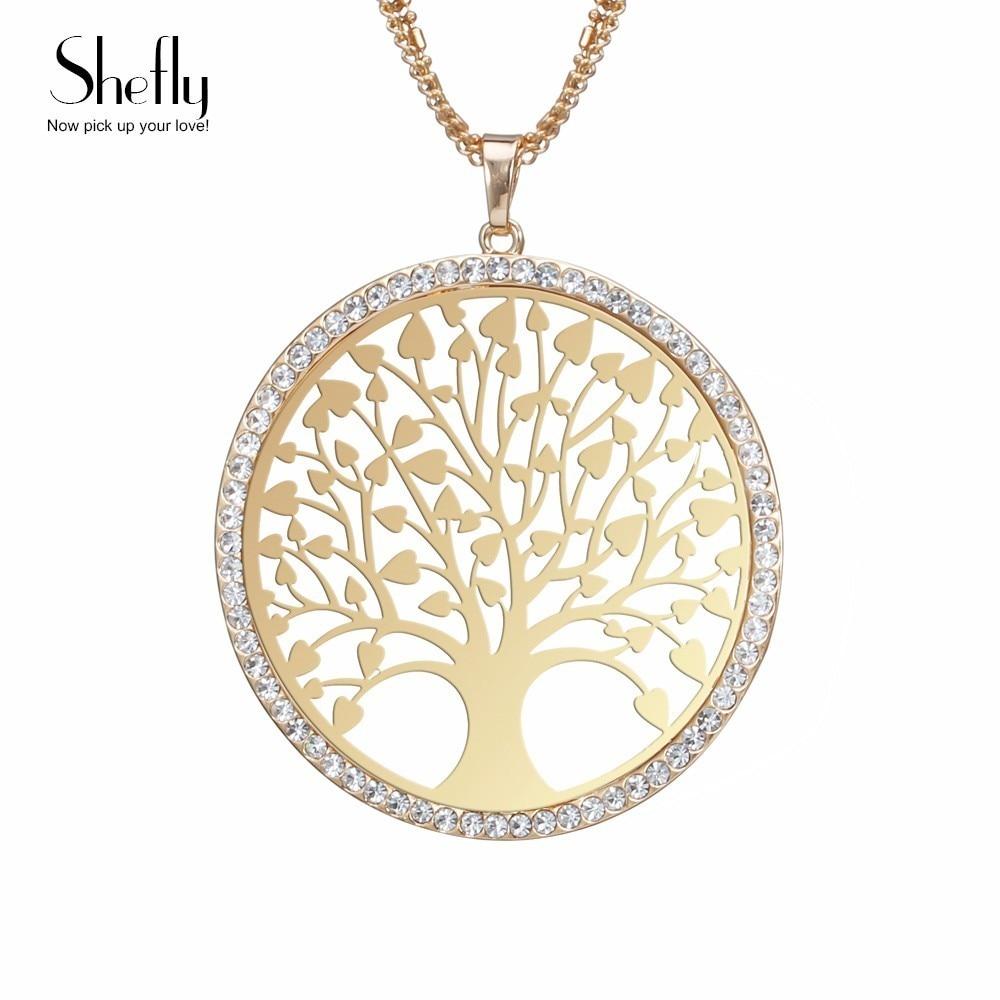 Baum des lebens Anhänger Halskette Gold Farbe Maxi Lange Kette Glänzenden Kristall Frauen Halsketten & Anhänger Elegante Partei Schmuck XL07231