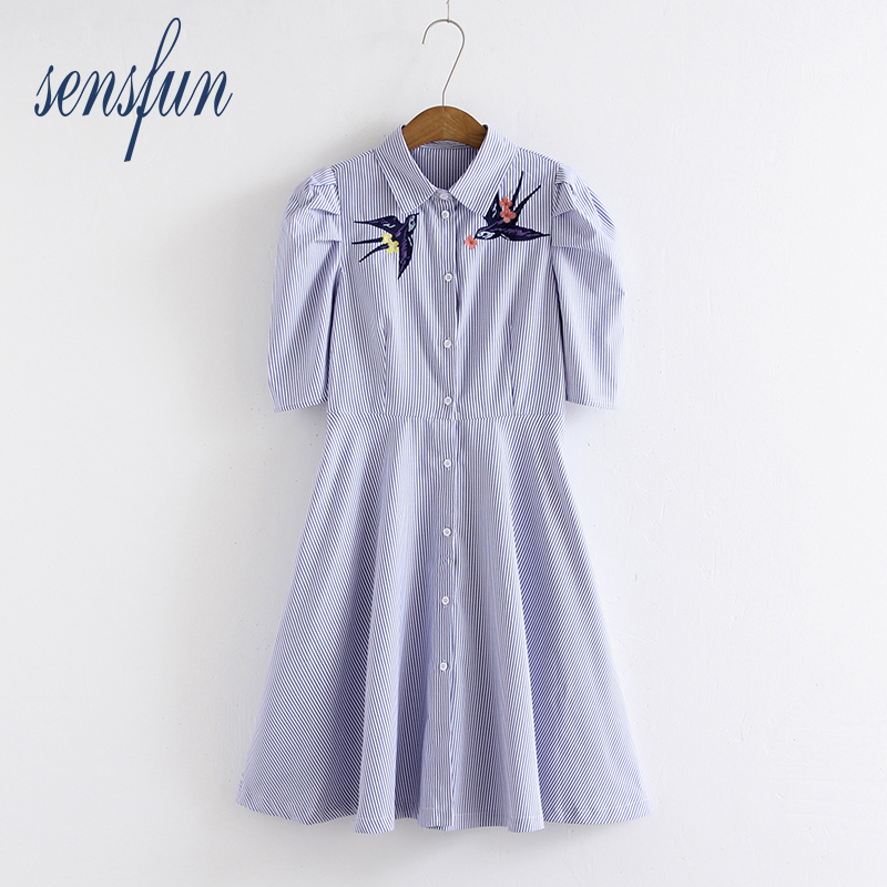 Sensfun 2018 Casual Girl Women Dresses Ployster Summer Knee-length Vestidos Short Sleeves Blue Striped A Line Summer Dresses