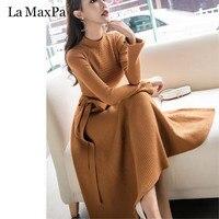La MaxPa Long Sleeve Knitted Slim Dress 2018 Women Autumn Winter Dress Elegant Sweet Bodycon Prom Party Dresses Vestidos