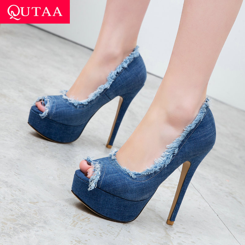 QUTAA 2019 Women Pumps Thin Super High Heel Peep Toe Denim Tassel Fashin Shoes Slip on Spring/Autumn Platform 3.5cm Size 34-43QUTAA 2019 Women Pumps Thin Super High Heel Peep Toe Denim Tassel Fashin Shoes Slip on Spring/Autumn Platform 3.5cm Size 34-43
