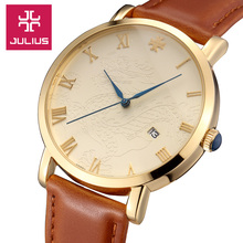 4 Colors Julius Man woman Watch Dragon Phoenix Homme Hours Best Fashion Dress Bracelet Leather Band