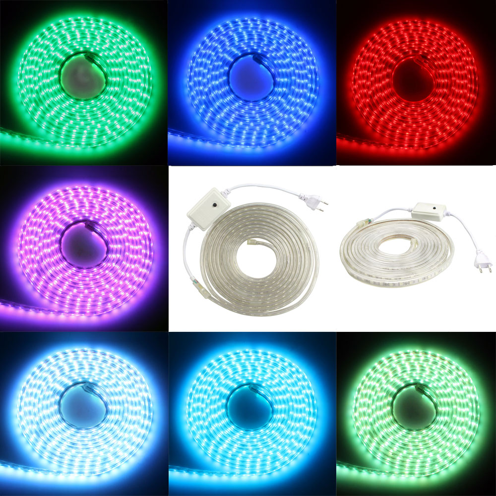 Rgb Led Strip 230v 220v 230v 240v Led Strip Light 5050 Waterproof Ip67 Ip68 Warm White Red Blue Green Rgb Outdoor Tape Rope With Power Plug Lamp In Led Strips From