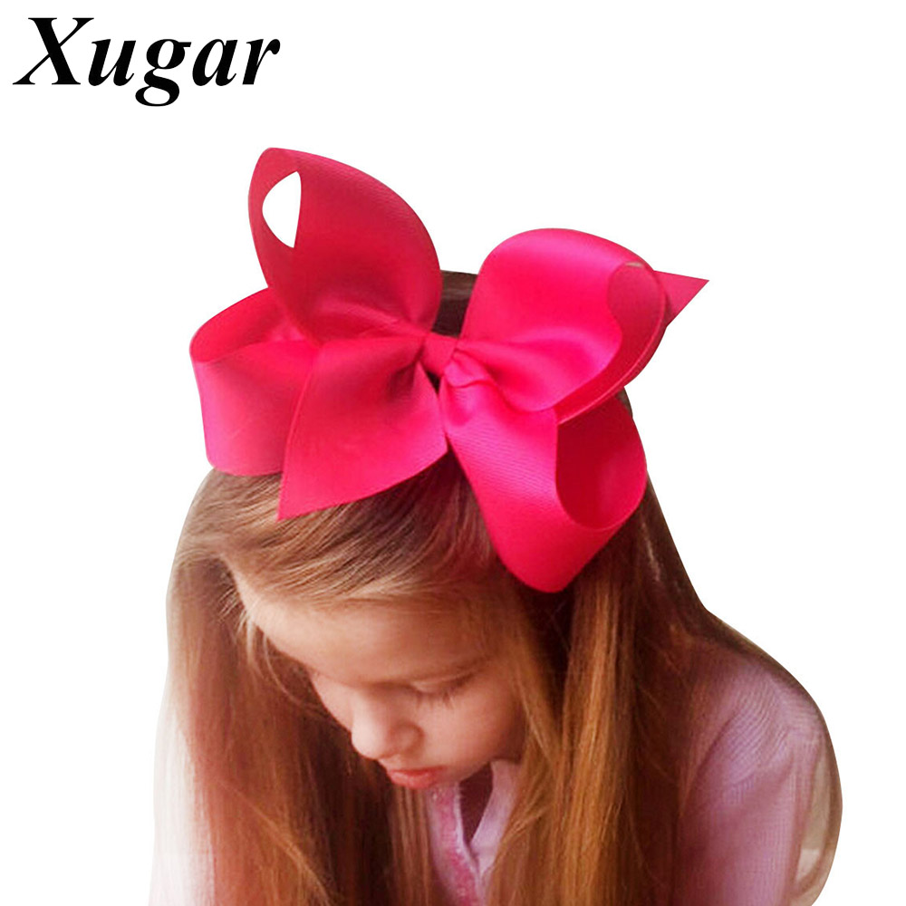 1 PC 6'' Big Solid Grosgrain Ribbon Hair Bow Hairpins For Kid Girls Hair Clip Boutique Hair Accessories usd1 69 pc 5inches big stacked boutique bows with 6cm hair clip hairpin 8 colors solid grosgrain ribbon bows hair accessories