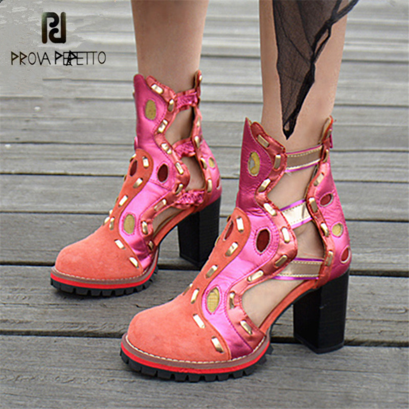 Prova Perfetto Cute Pink Hollow Out Women Ankle Boots Chunky High Heel Summer Boots Genuine Leather Female Platform Rubber Botas cute love heart hollow out bracelet watch for women
